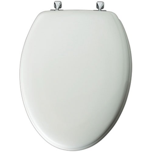 Mayfair Molded Wood Toilet Seat featuring STA-TITE Seat Fastening System and Chrome Hinges, Elongated, White, 144CP (Chrome Toilet Seat)