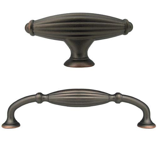 Glob Shop Oil Rubbed Bronze Flute Kitchen Bathroom Cabinet Drawer Knobs and 5