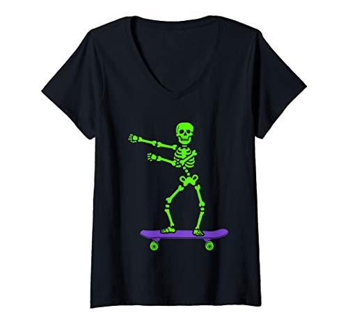 Womens Funny Skeleton Dance Halloween Costume V-Neck T-Shirt ()