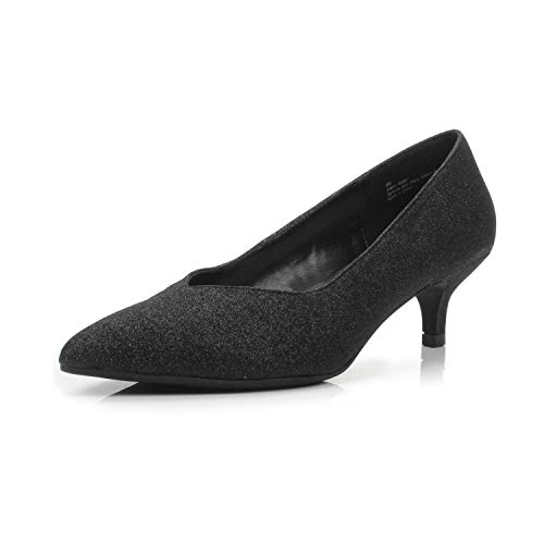 Dunion Brink Women's Fashion Elegant Comfortable Classic Pointed Toe Kitten Heel Dress Party Wedding Pump,Brink Black Glitter,8.5 M ()