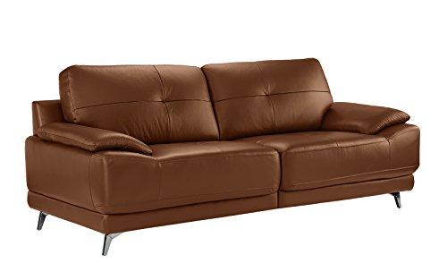 Divano Roma Furniture - Modern Living Room Leather Sofa (Camel)