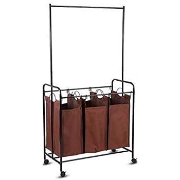12445e53031e Amazon.com: Wonderrun Laundry Basket Bag Square Rolling Wheels to ...