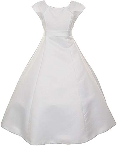 BluNight Collection Big Girls Cap Sleeve Bridal Satin First Communion Flower Girls Dresses (5T3R5K) White 16