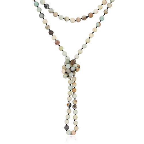 Long Statement Necklace - Handmade Knotted Endless Beads Strand Versatile Lariat Multi Layer Infinity Wrap 60