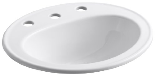 (KOHLER K-2196-8-0 Pennington Self-Rimming Bathroom Sink, White)