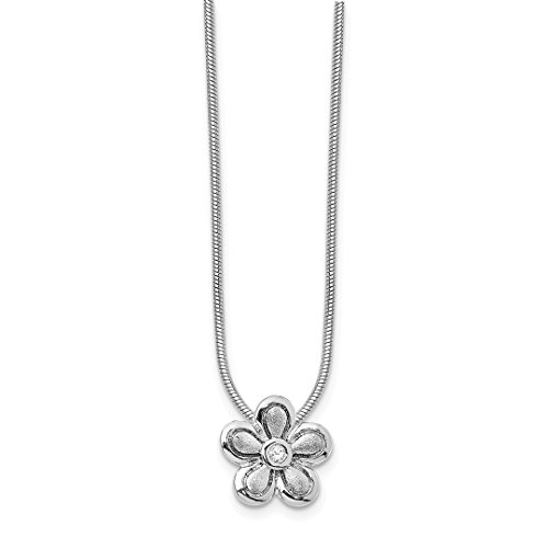 ICE CARATS 925 Sterling Silver 02ct. Matte Finish Diamond Flower Chain Necklace Pendant Charm Floral Fine Jewelry Ideal Gifts For Women Gift Set From Heart