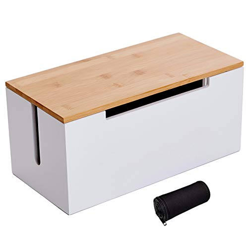 Cord Cable Management Organizer Storage Box - Large White Wood and Bamboo Cover for Floor or Under Desk to Hide and Hold Power Strip, TV, Router, Computer, USB Hub, and Electrical Outlet Plug Wire