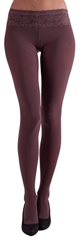 MARILYN LUXURY LACE TIGHTS 100 DEN (S/M, Latte - Brown) ()