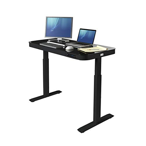 Seville Classics OFF65871 Airlift Tempered Glass Electric Standing Desk with Drawer, 2.4A USB Ports, 3 Memory Buttons (Max. Height 47