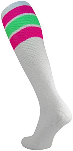 TCK Retro 3 Stripe Tube Socks (Hot Pink/Neon Green, Medium)