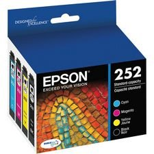 Epson DURABrite Ultra Ink T252 Ink Cartridge - Cyan, Black, Magenta, Yellow (Printer Cartridges Wf 3640)