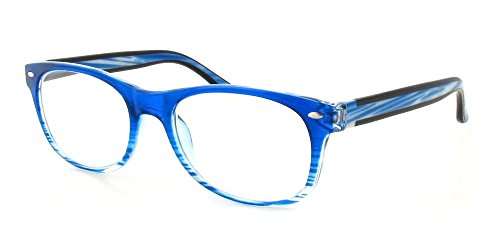 Calabria 764 Designer Wayfarer Reading Glasses in Blue ; +6.00