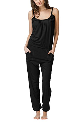 Linsery Women's Summer Black Spaghetti Strap Backless Home Wear Outfits Overalls,Black-1747,Medium