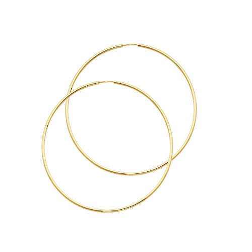 14k Yellow Gold 1.5mm Thickness Endless Hoop Earrings (Style Options) (TGDJ118- 50mm Diameter) by Top Gold & Diamond Jewelry