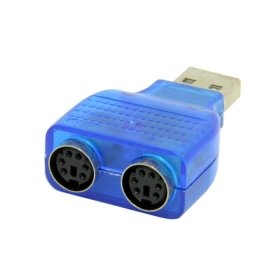 HDMIHOME Dual PS2 PS/2 MINI DIN 6pin to USB 2.0 Adapter Converter for PC Laptop Keyboard Mouse Blue Color Din Ps2 Adapter
