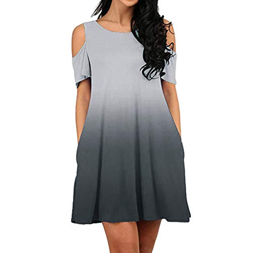 〓COOlCCI〓Women's Cold Shoulder Midi Dress Short Sleeve Swing Dress with Pockets Tunic Top Swing T-Shirt Dress Gray ()