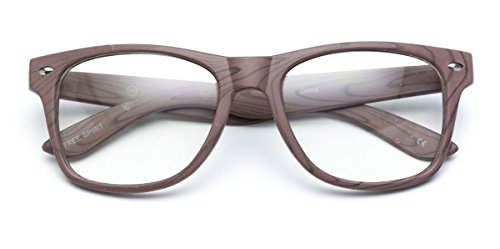 WearMe Pro - Vintage Inspired Classic Wood Print Nerd Horn Rimmed Clear Lens - Glasses Wood