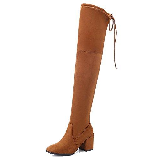 Las mujeres de zapatos de tacón alto largo botas por encima de la rodilla piel gruesa felpa cálido zapatillas de cordones, BLACK-39 BROWN-39