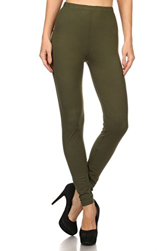 Solid Olive Green (Always Women's Solid Color Full Length High Waist Leggings Olive One)