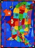 Joy Carpets Kid Essentials Geography & Environment Read Across America Rug, Multicolored, 10'9'' x 13'2''