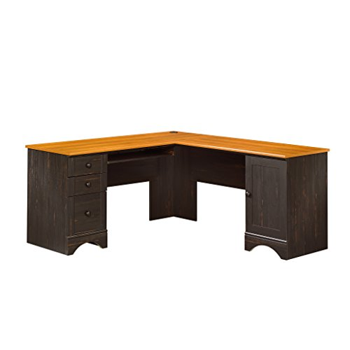 Sauder Harbor View Corner Computer Desk, Antiqued Paint finish