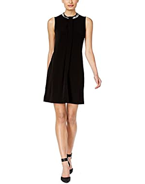 Women's Shift Chain-Neck Overlay Dress Black 12