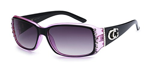CG Eyewear Two Tone Rhinestone Square Colorful Women Girls Fashion Hot Sunglasses (Square - Cheap Purple Sunglasses