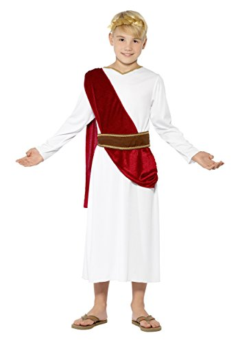 Smiffy's Children's Roman Boy Costume,  Robe, Belt and Headpiece, Ages 10-12, Size: Large, Color: White, (Roman Head Wear)