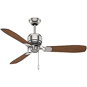 Casablanca 59501 Tribeca 52 Inch 3 Blade Ceiling Fan, Brushed Nickel With  Burnt