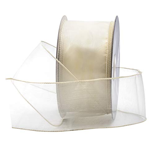 (Ivory Off-White Organza Wired Sheer Ribbon 2.75