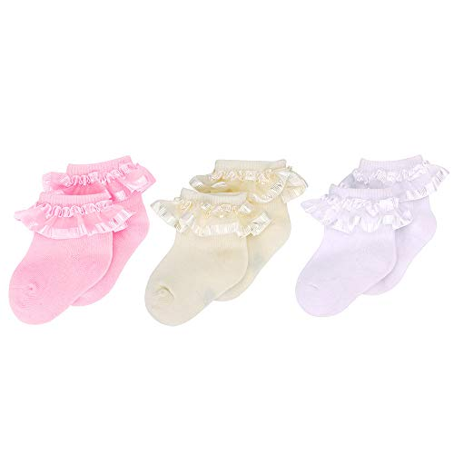 6-12 Months 3 Pack White Frilly Socks 3 Pairs Baby Girl Lace Top Cotton Socks for Newborn Christening Wedding Pink 3 Pairs