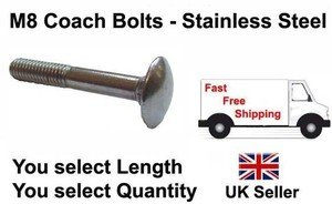 Aruncas M8 / 8mm Stainless Coach Bolts - M8 / M8 Cup Square Coach Bolts, Thread Length: 90mm, Pack Of 50