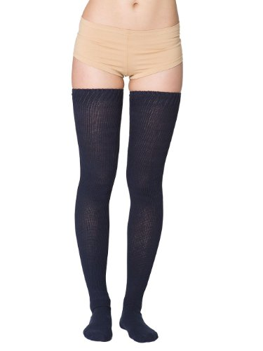 american-apparel-womens-cotton-solid-thigh-high-socks-size-os-navy