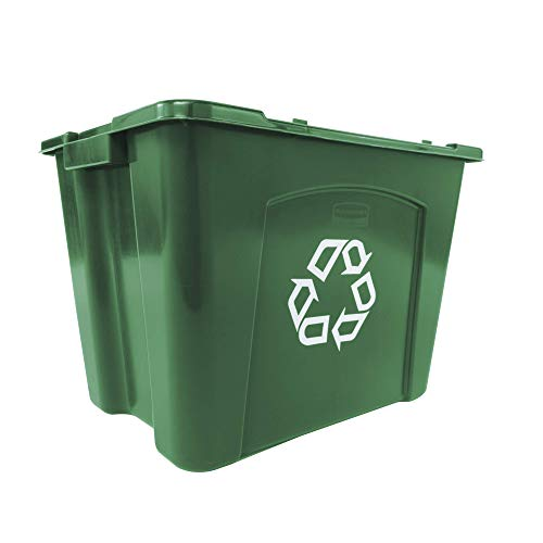 Box Green Recycling (Rubbermaid Commercial Products FG571473GRN Stackable Recycling Box, 14 gal, Green)