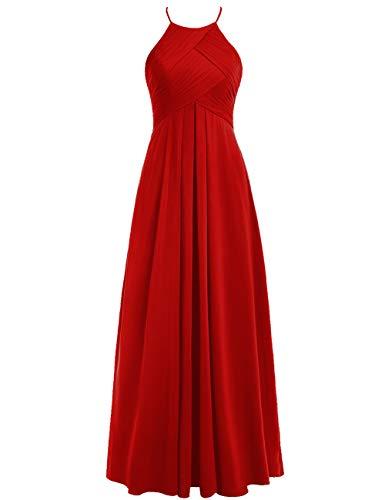 Linie Brautjungfernkleider Rückenfrei A Rot Hochzeitskleider Abendkleider Neckholder Chiffon 48W Lang Ballkleider 6BxB7wR