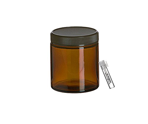 Perfume Studio® Straight Sided 4oz Amber Glass Jar with Black BPA Free Ribbed Cap for Cosmetics Solutions; Plus a Pure Perfume Sample Vial