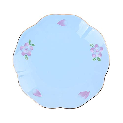 Cherry Blossom Pattern Ceramic Dessert Plate, Banquet Cake Plate With Gold Trim, 8