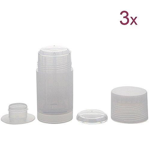 Deo Stick Flasche 75ml, leer, Kunststoff, nachfüllbar, für selbsthergestellte Deos, tropfsichere Konsistenzen, 3 Stück, 3 Stück