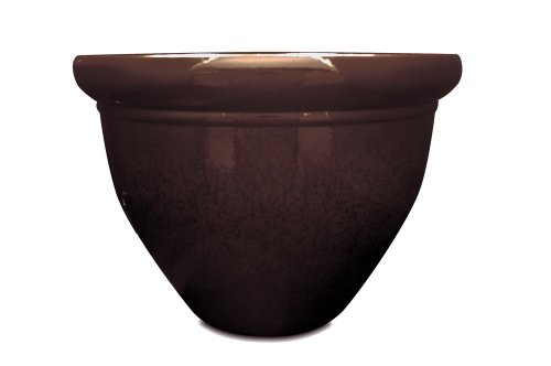 Listo Pizzazz Resin Pottery Planter with Speckle, 12-Inch, Chocolate ()