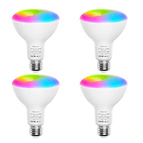 Smart Light Bulbs, Aoycocr BR30 Dimmable LED Light Bulbs, 720 Lumen, Tunable White 2700K – 9000K,9 (80W Equivalent), Works with Alexa, Google Assistant, IFTTT, No Hub Required, Wi-Fi, E26 Base, 4 Pack