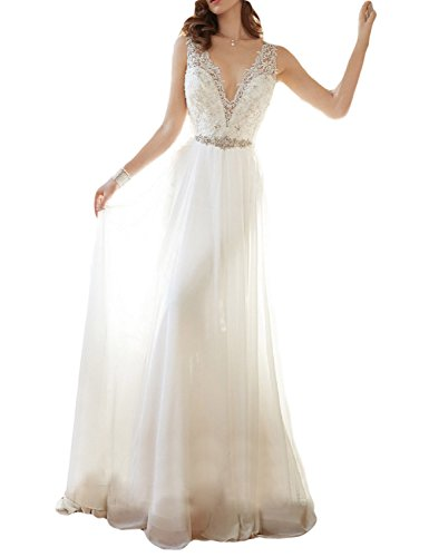 Train Gown Wedding Chiffon - OYISHA Women's V-neck Lace Beach Wedding Dress Chiffon Beaded Bridal Gown 90WD White 2