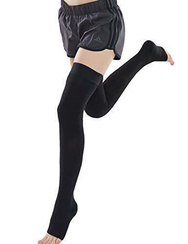 Ailaka Open Toe Thigh High 20-30 mmHg Compression Stockings for Women and Men, Firm Support Graduated Varicose Veins Socks, Travel, Casual-Formal Hosiery (Black, XX-Large)