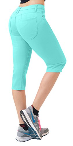 (Hybrid & Co. Women's Butt Lift Super Comfy Stretch Denim Capri Jeans Mint 14)