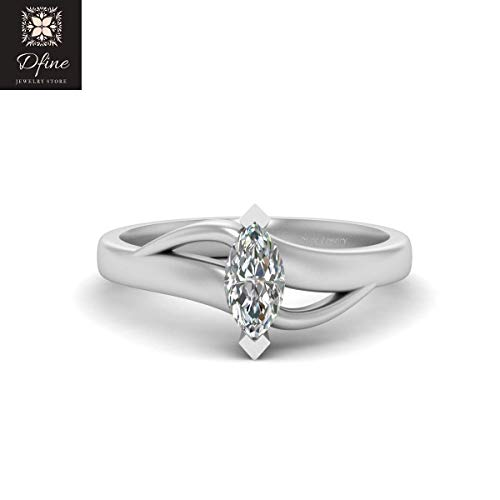 Solitaire Marquise Diamond Promise Ring 925 Sterling Silver Diamond Anniversary Ring Gift