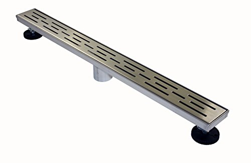 "Novalinea ZA Linear Shower Drain (60"" BRICK Pattern) 304 Stainless Steel, with Hair Strainer, Leveling Feet and Threaded Adapter"
