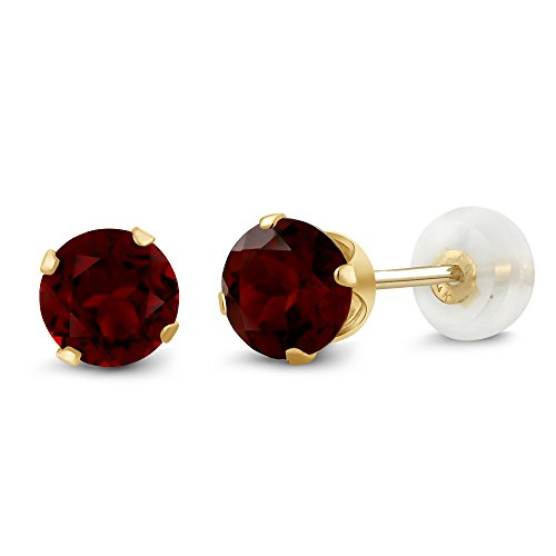 Gem Stone King 1.30 Ct Round Cut Red Garnet 14K Yellow Gold Women's Stud Earrings
