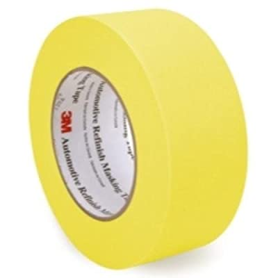 """3M 06656 Crepe Paper Automotive Refinish Masking Tape, 28 lbs/in Tensile Strength, 60 yds Length x 2"""" Width, Yellow"""