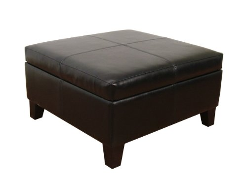 Large Black Faux Leather Storage Table Bench Living Room Bedroom by Kinfine
