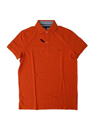 (Tommy Hilfiger Mens Custom Fit Solid Color Polo Shirt (Large, Orange))