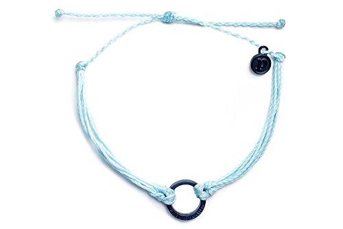 Pura Vida Bracelets Black Circle Ice Blue Banded Bracelet Handmade  Waterproof w/ Matte-Black Charm